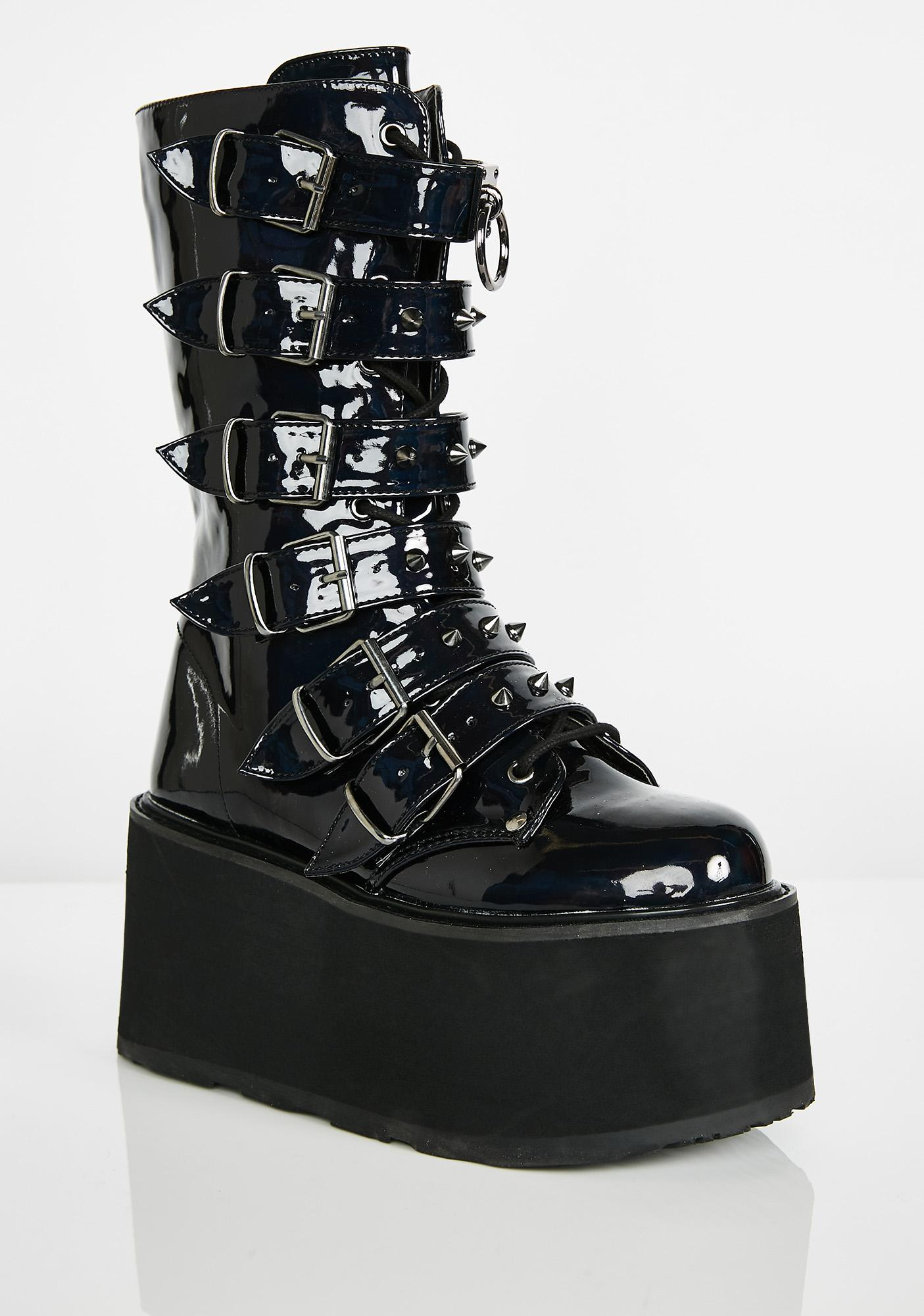 Demonia Prizm Heist Buckle Boots