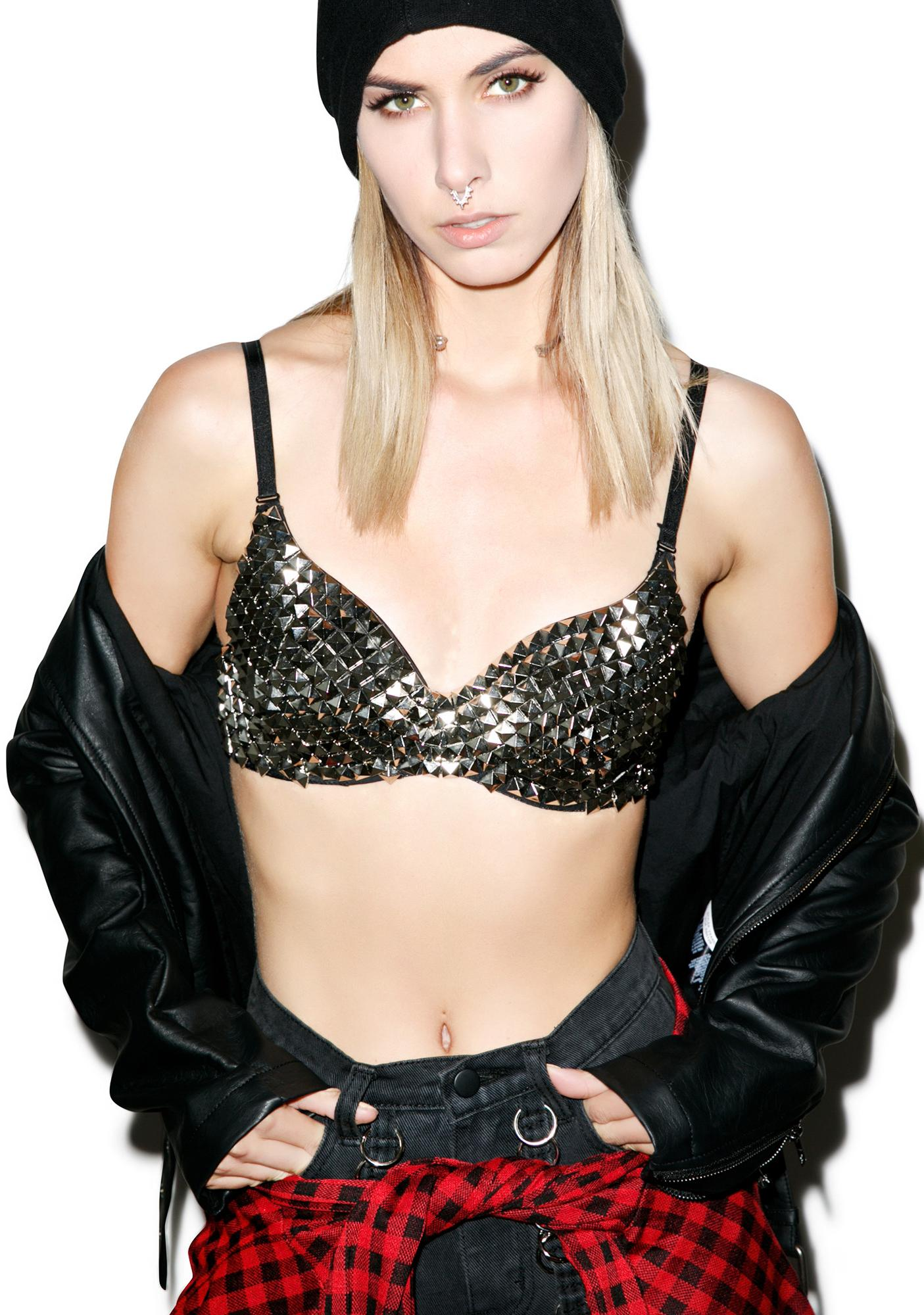 Girl's A BAMF Studded Bra Top