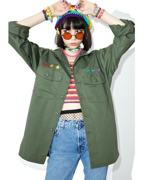 Reworked Rainbow Star Military Jacket