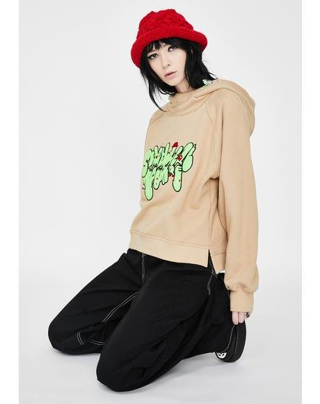Khaki Embroidered Pullover Hoodie