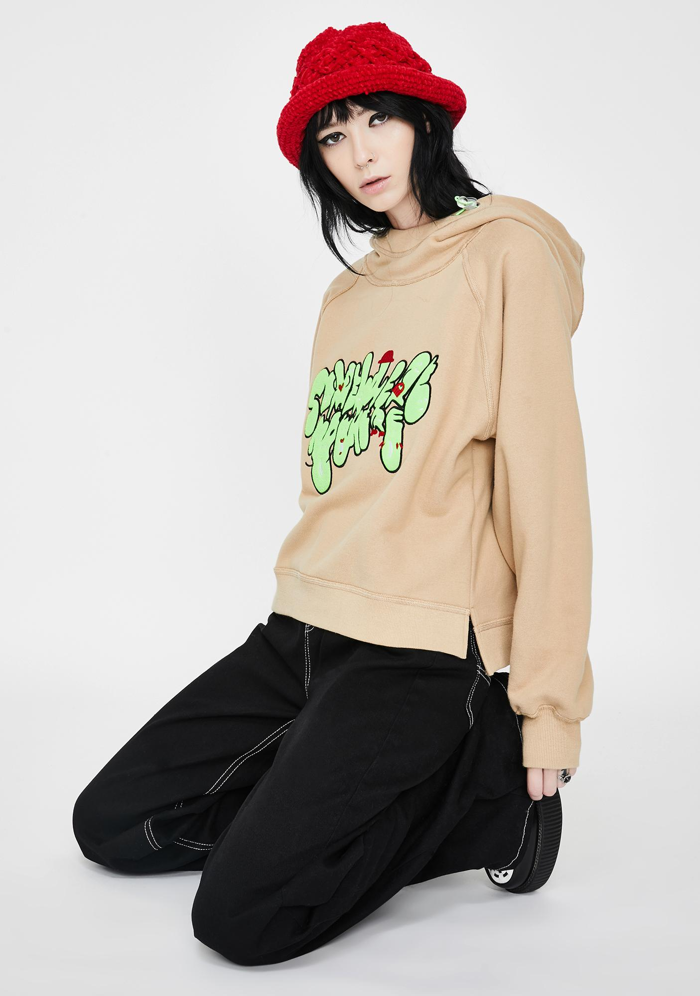 Somewhere Nowhere Khaki Embroidered Pullover Hoodie