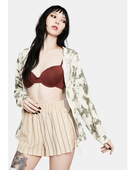 Tan Stripe Carefree Lounge Shorts