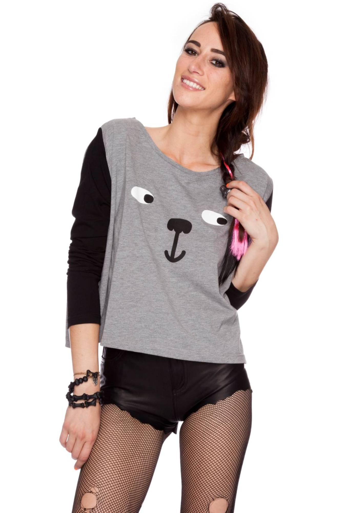 Lazy Oaf Big Dog Long Sleeved Box Crop Tee