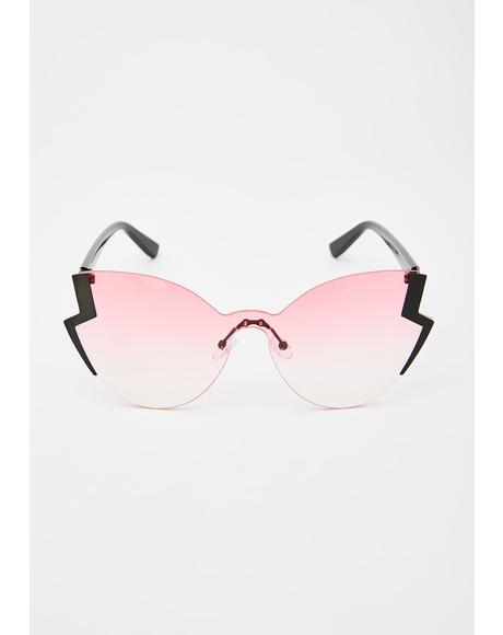 Rose Electric Edge Oversized Sunglasses