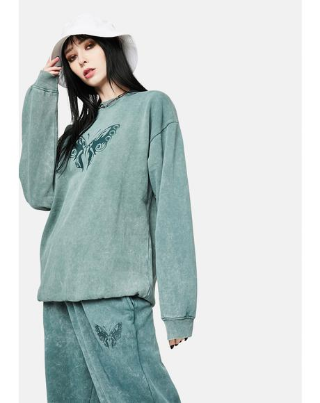 Zara Washed Green Butterfly Sweatshirt