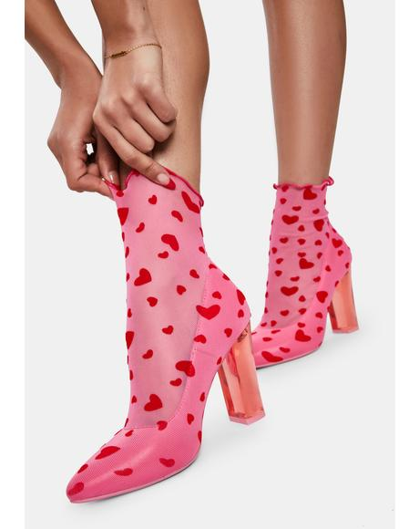 Candy Feelin' Lovesick Mesh Sock Booties