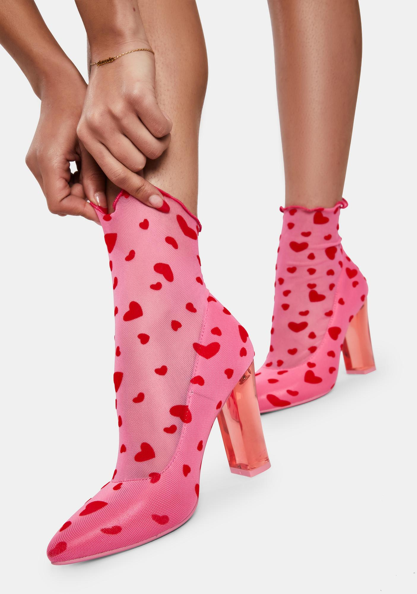 Sugar Thrillz Candy Feelin' Lovesick Mesh Sock Booties