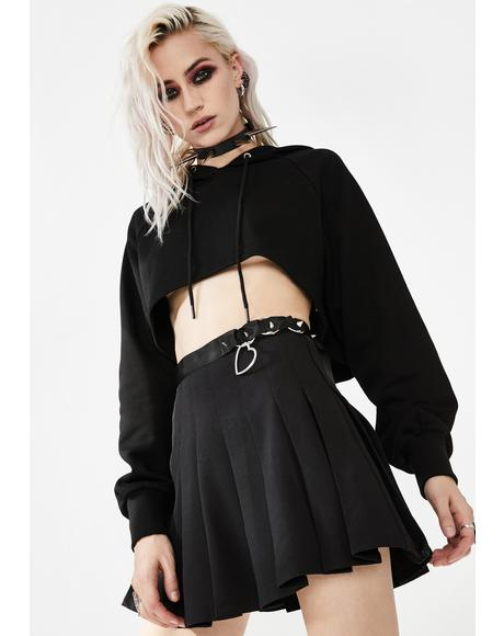 High Waist Ring Buckle Pleated Skirt
