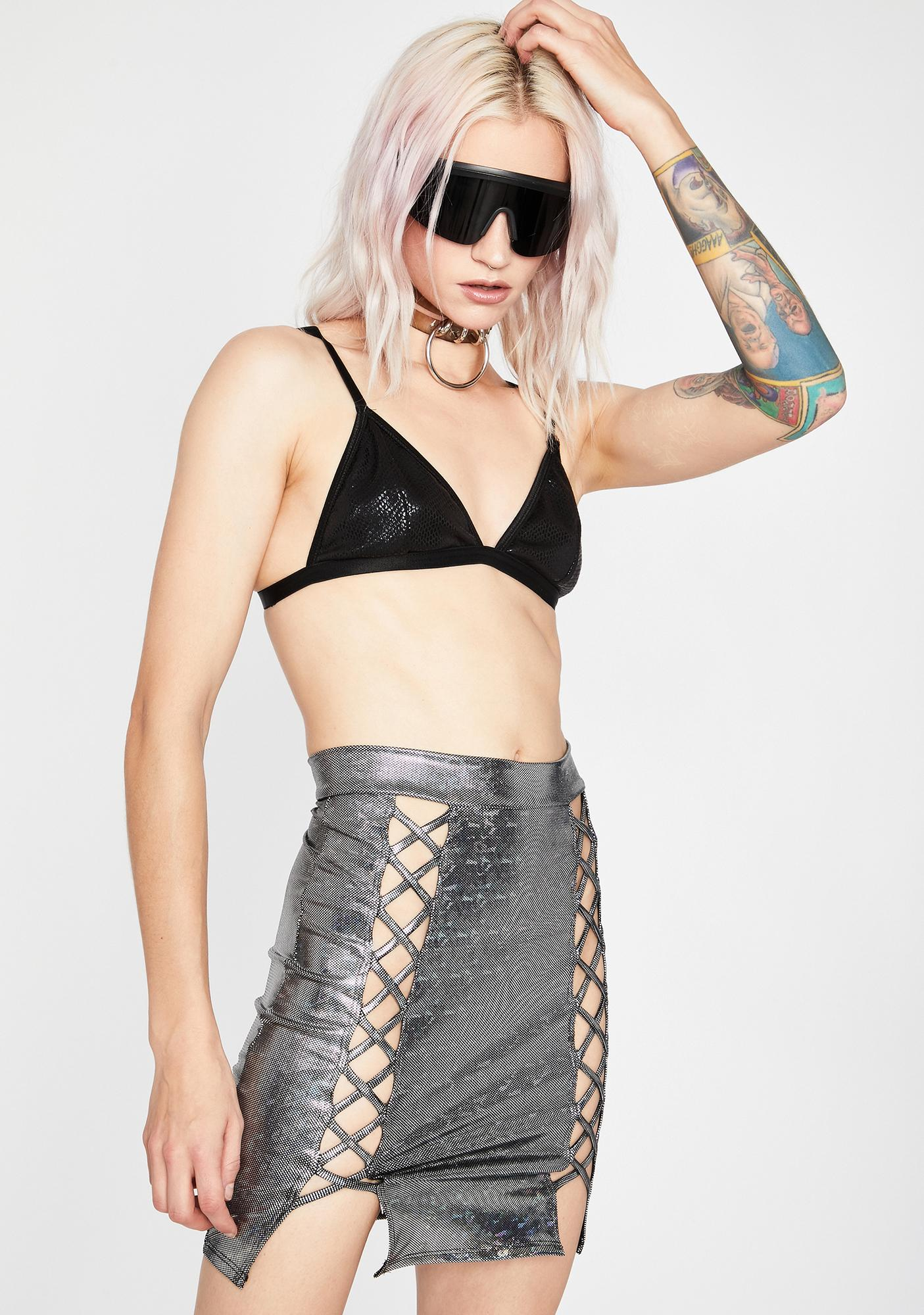 Chrome Electric Lust Mini Skirt