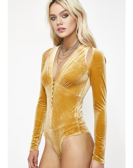 Gold Angelic Passion Cutout Bodysuit