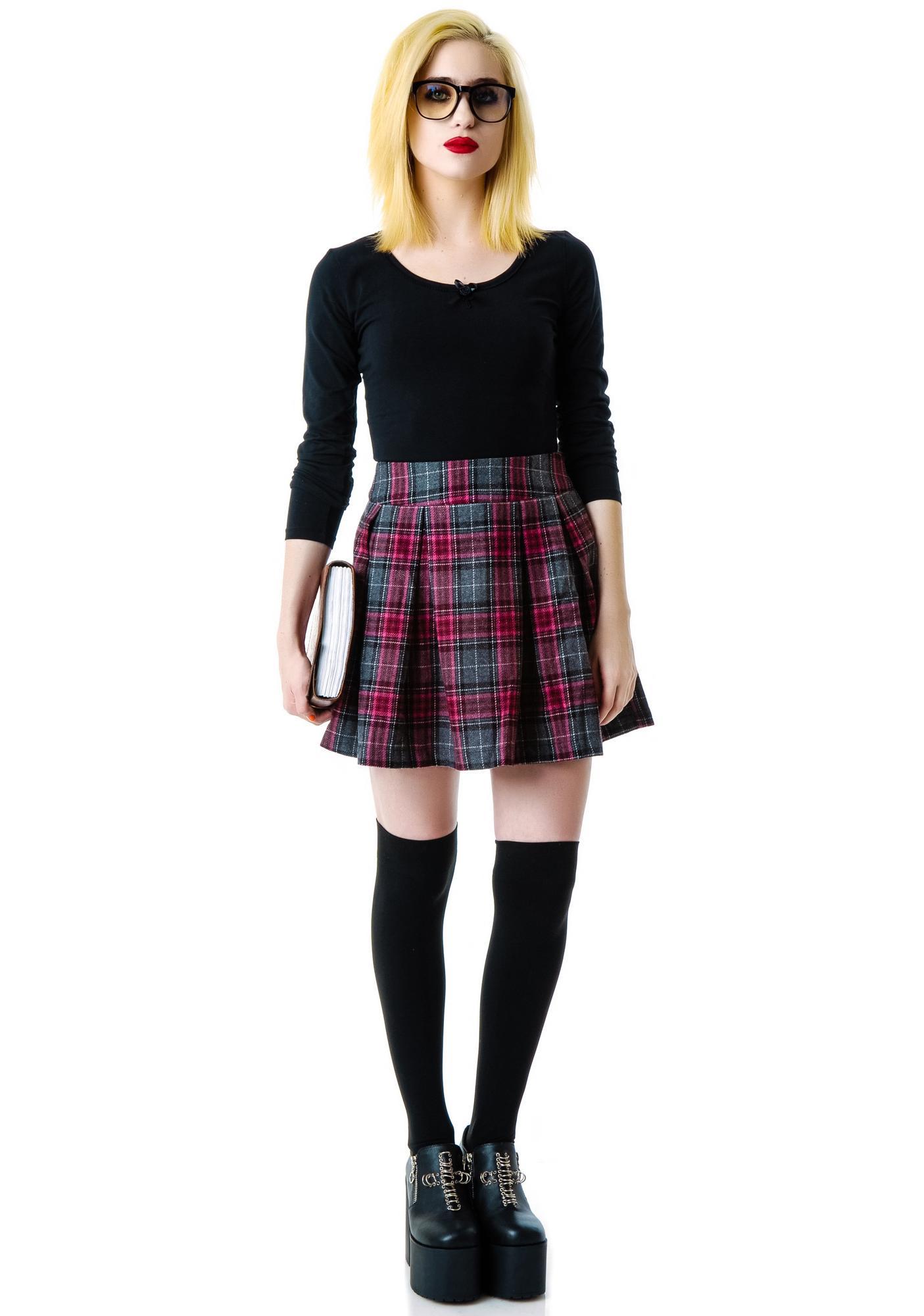 Cher Pleated Plaid Skirt