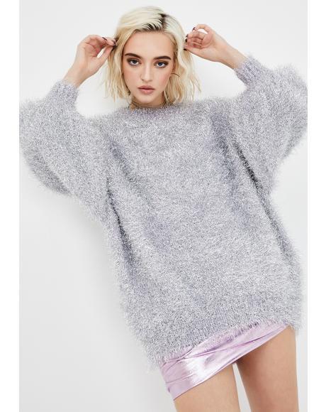 Silver Lilac Metallic Fuzzy Sweater