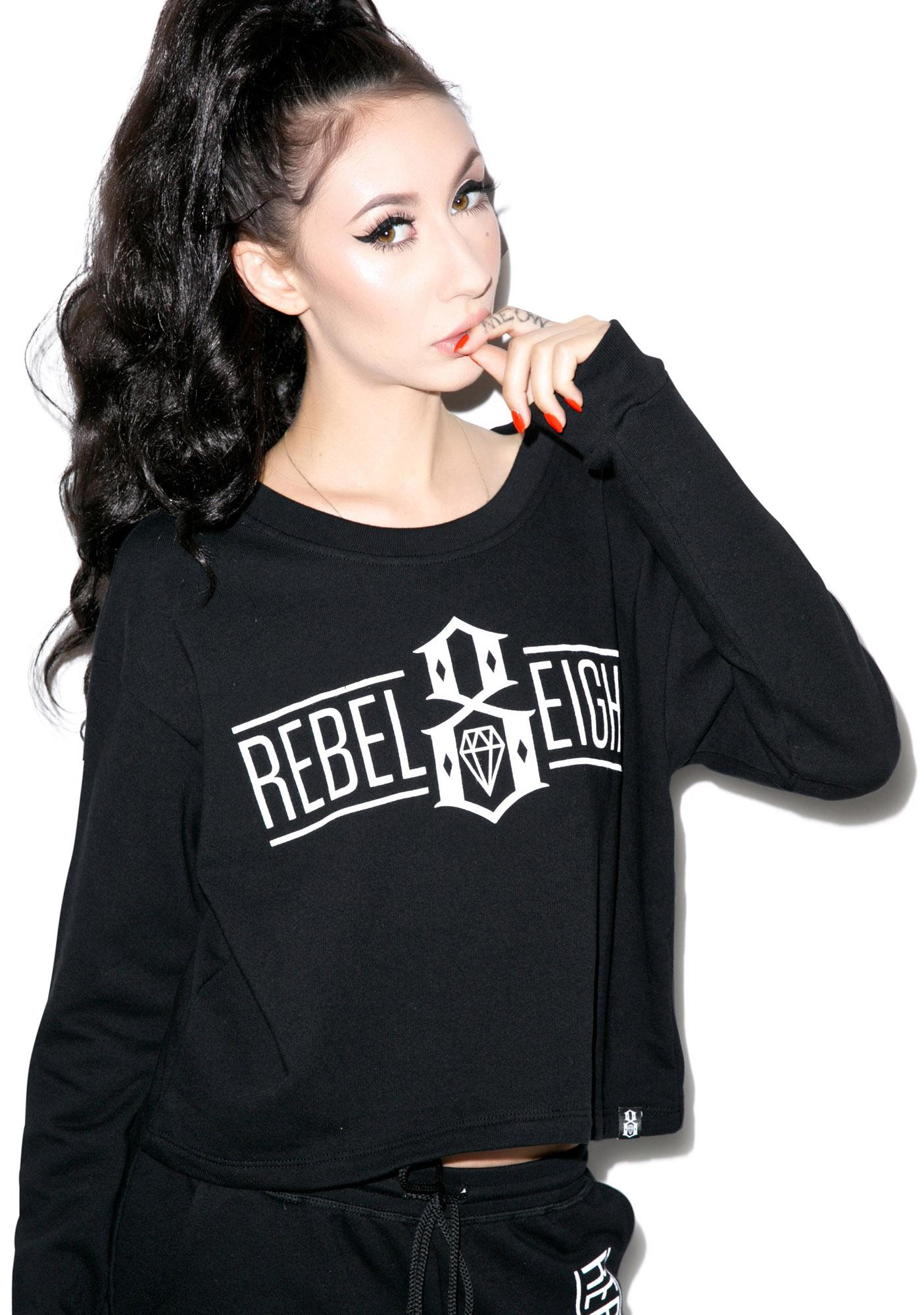 Rebel8 Logo Crop Top Sweatshirt