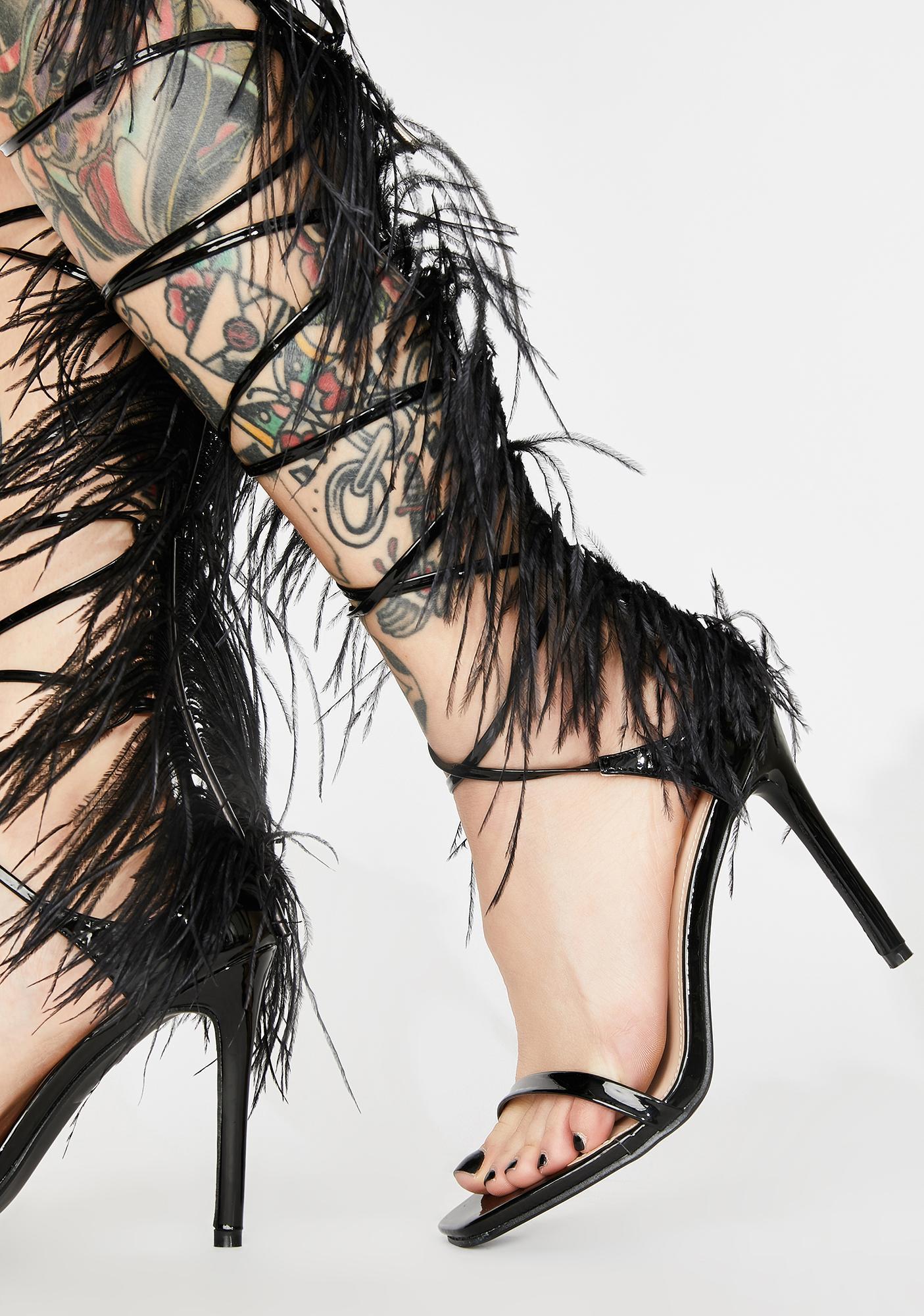 Public Desire Black Frolic Wrap Heels