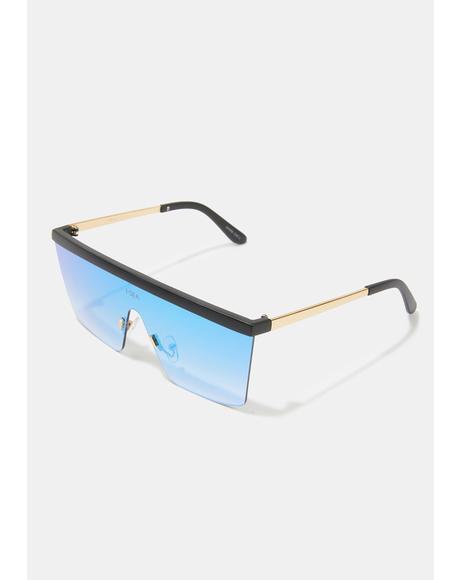 Phoenix Gold Blue Shield Sunglasses