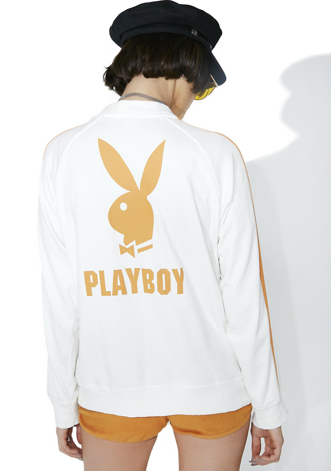 Vintage White Playboy Track Jacket