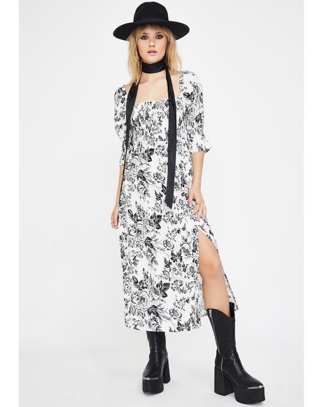 Sketch Floral Midi Dress