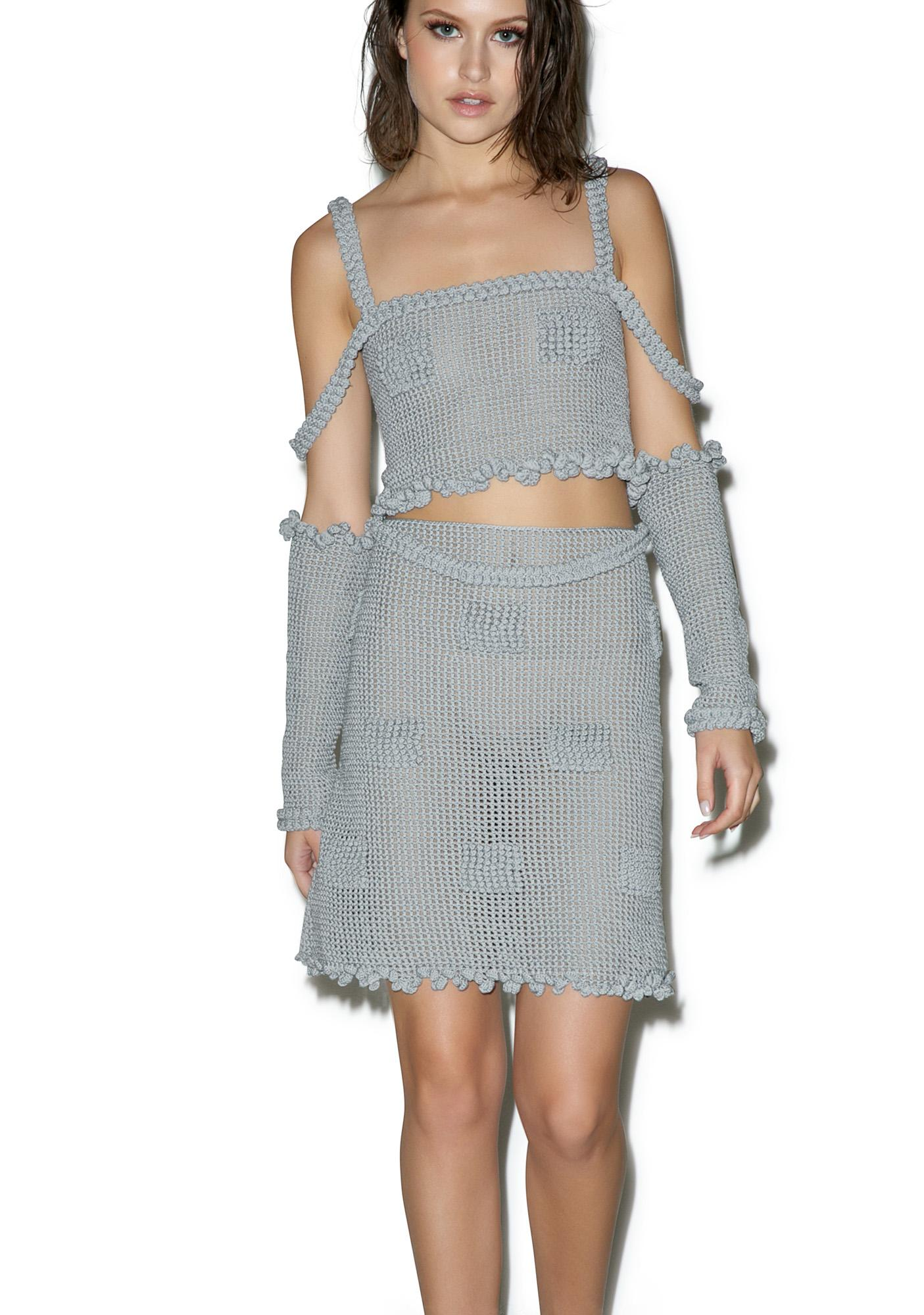 Maria ke Fisherman Candy Mesh Crochet Skirt