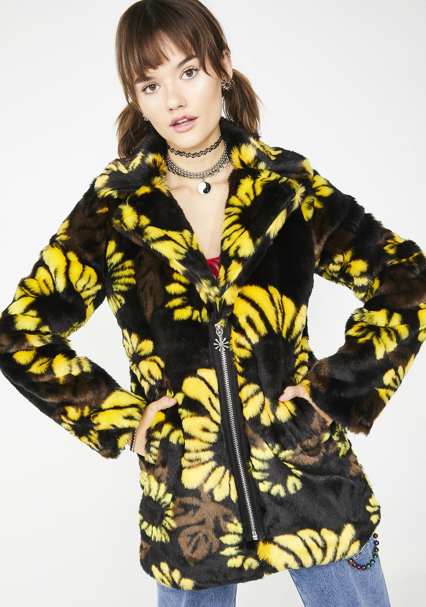 dELiA*s by Dolls Kill Slice Of Sunshine Faux Fur Coat