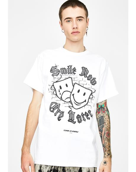 X Smiley White Smile Now Cry Later Graphic Tee