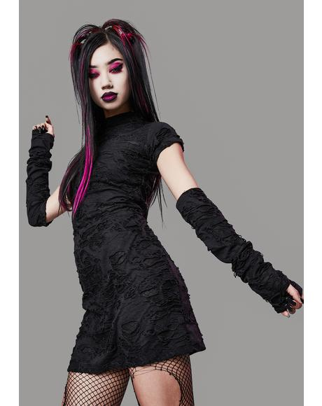 Toxic For Life Shredded Dress And Gloves Set