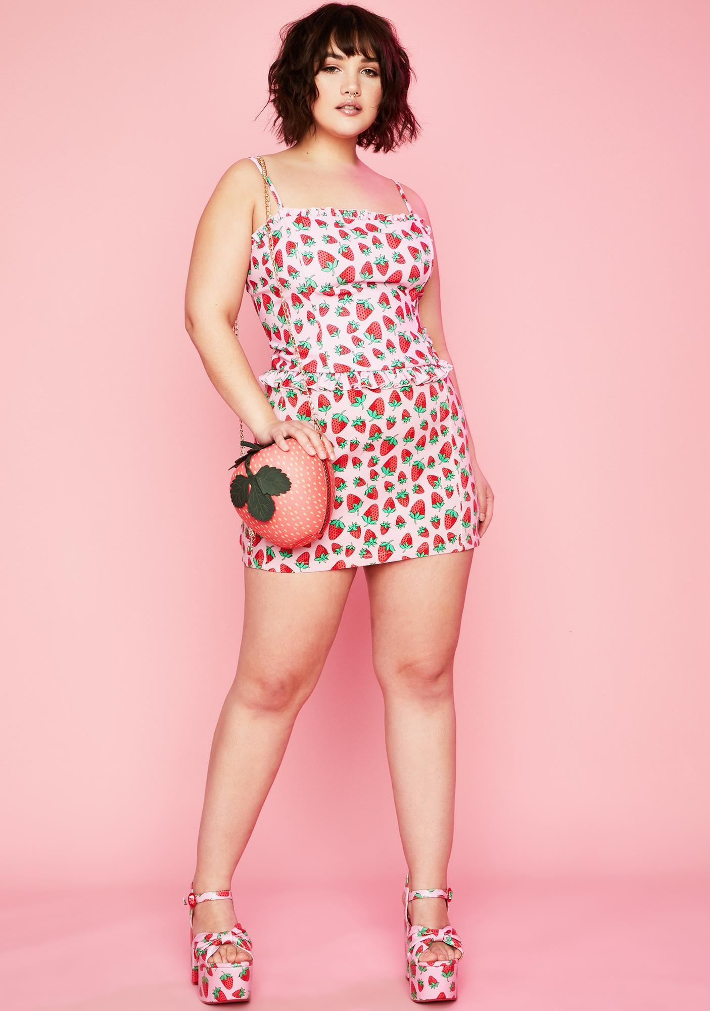 Sugar Thrillz Foreva Strawberry Fields Denim Skirt
