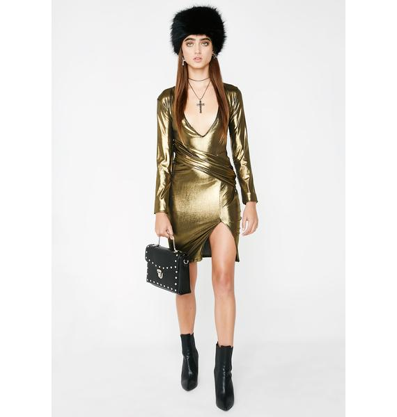 The Madonna Label Gold Long Sleeve Dress