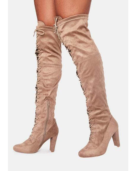 Taupe Run The Club Thigh High Boots