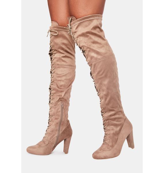 Taupe Run The Club Thigh High Boots