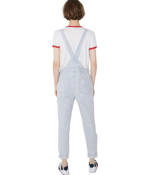 Conductor Cutie Distressed Overalls