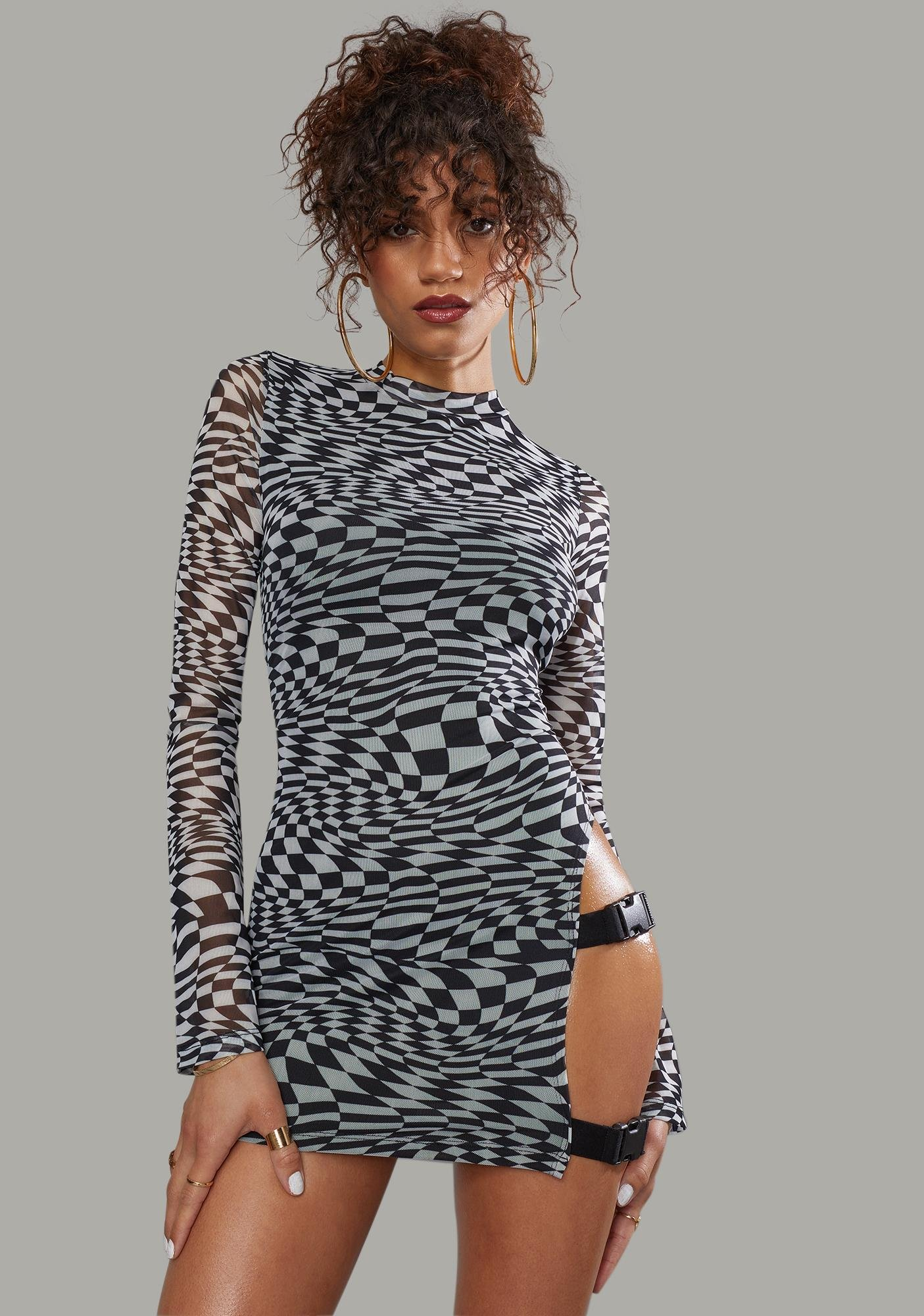 Poster Grl Warped Realm Checkered Mesh Mini Dress