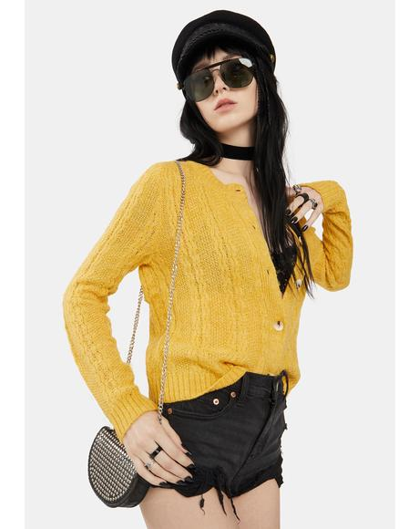 Honey Yellow Knit Cardigan