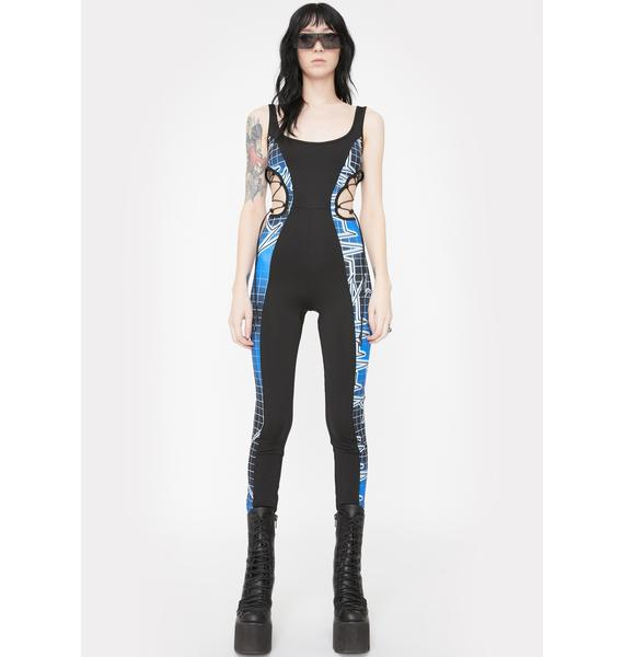 Jaded London Heartbeat Print Cut-Out Catsuit