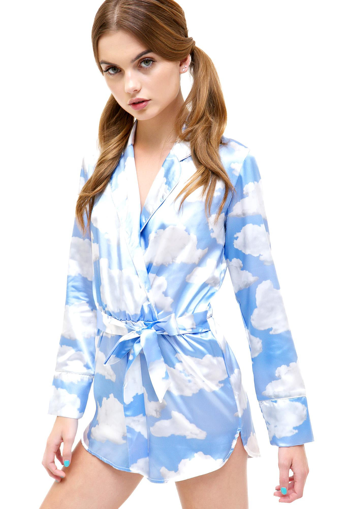 Jaded London Cloud Print Wrap Playsuit