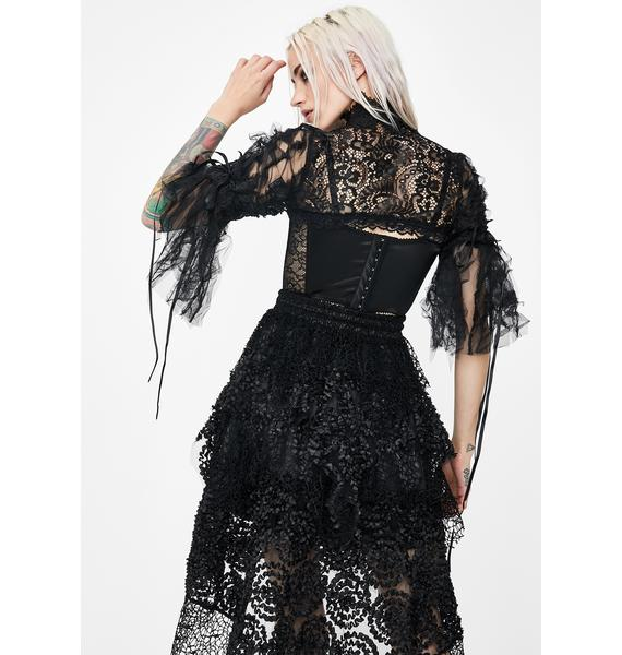 Dark In Love Sheer High Neck Lace Cape