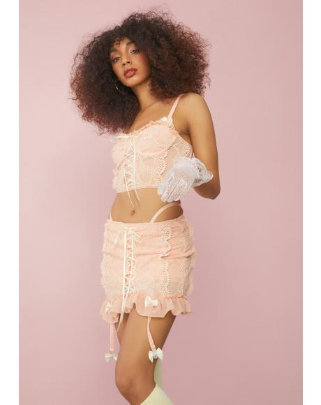 Peach Sincerely Yours Lace Bustier