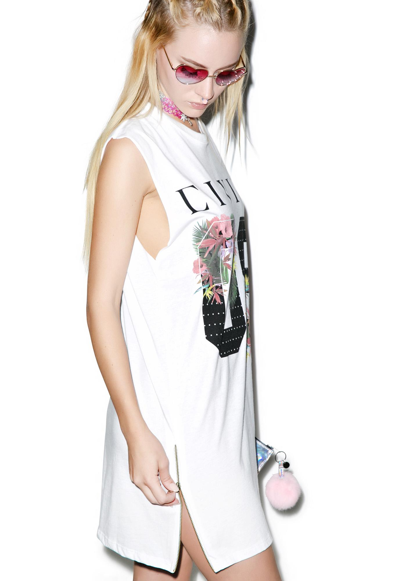 Civil Clothing Floral 08 Long Zip Muscle Tee
