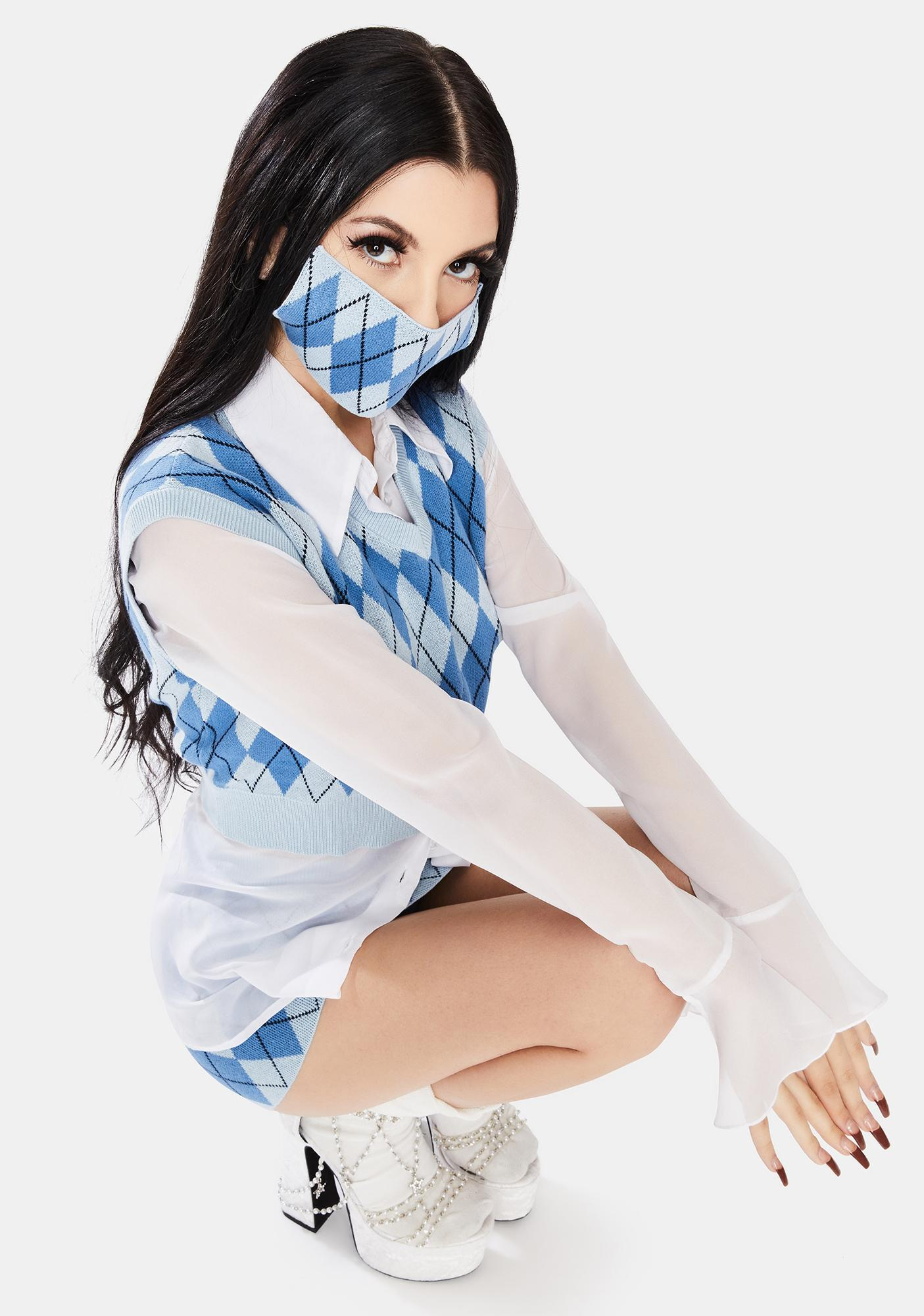 Nii HAi Blue Argyle Face Mask