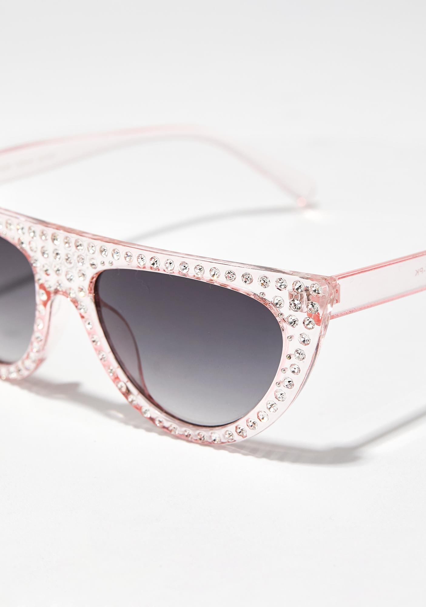 Blush Cold Frost Jeweled Sunglasses