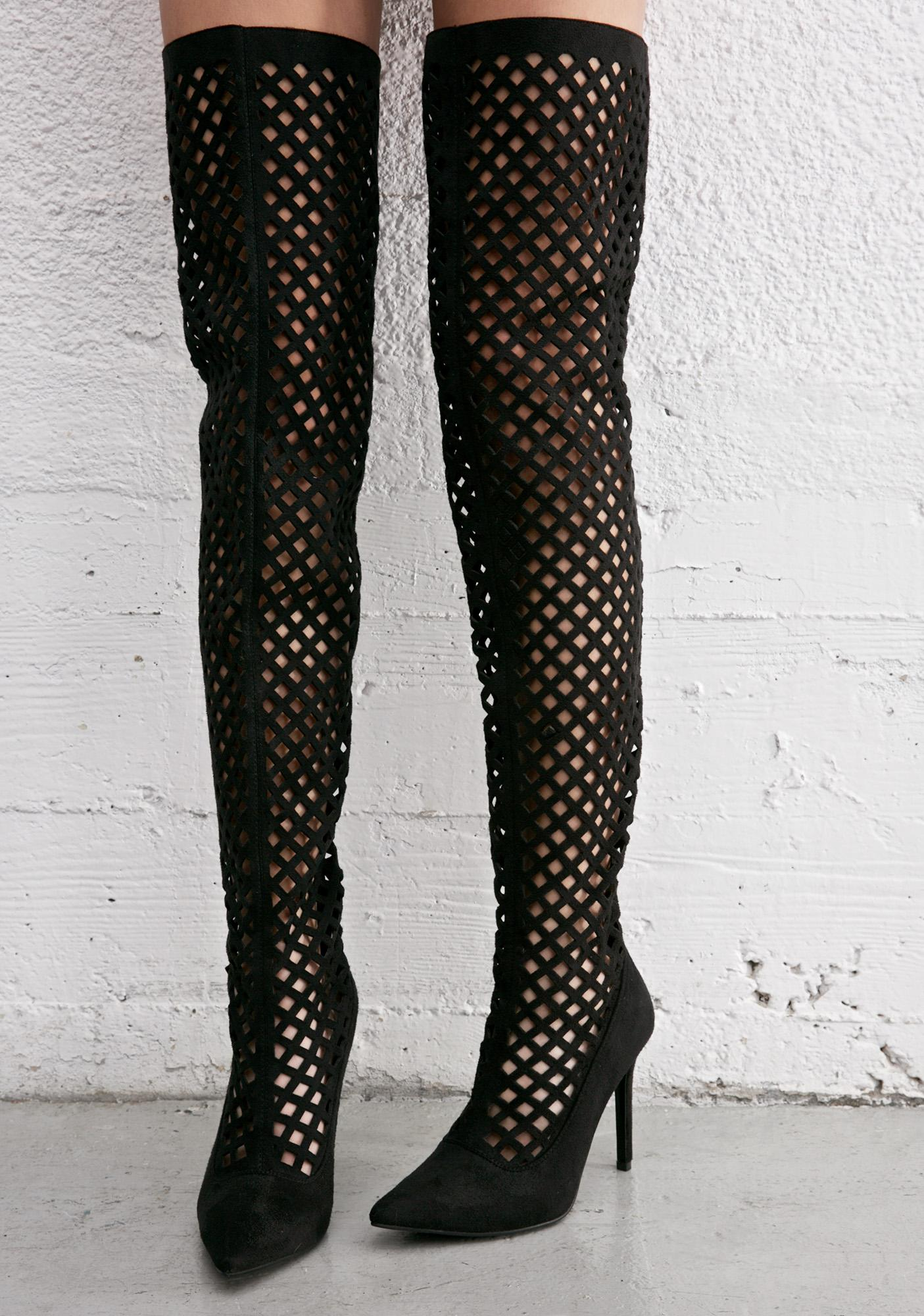 Caged Up Thigh High Heels