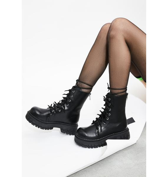 Current Mood Pricked Off Combat Boots