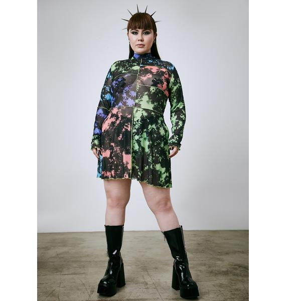 Current Mood Truly Our Time Now Tie Dye Mesh Dress