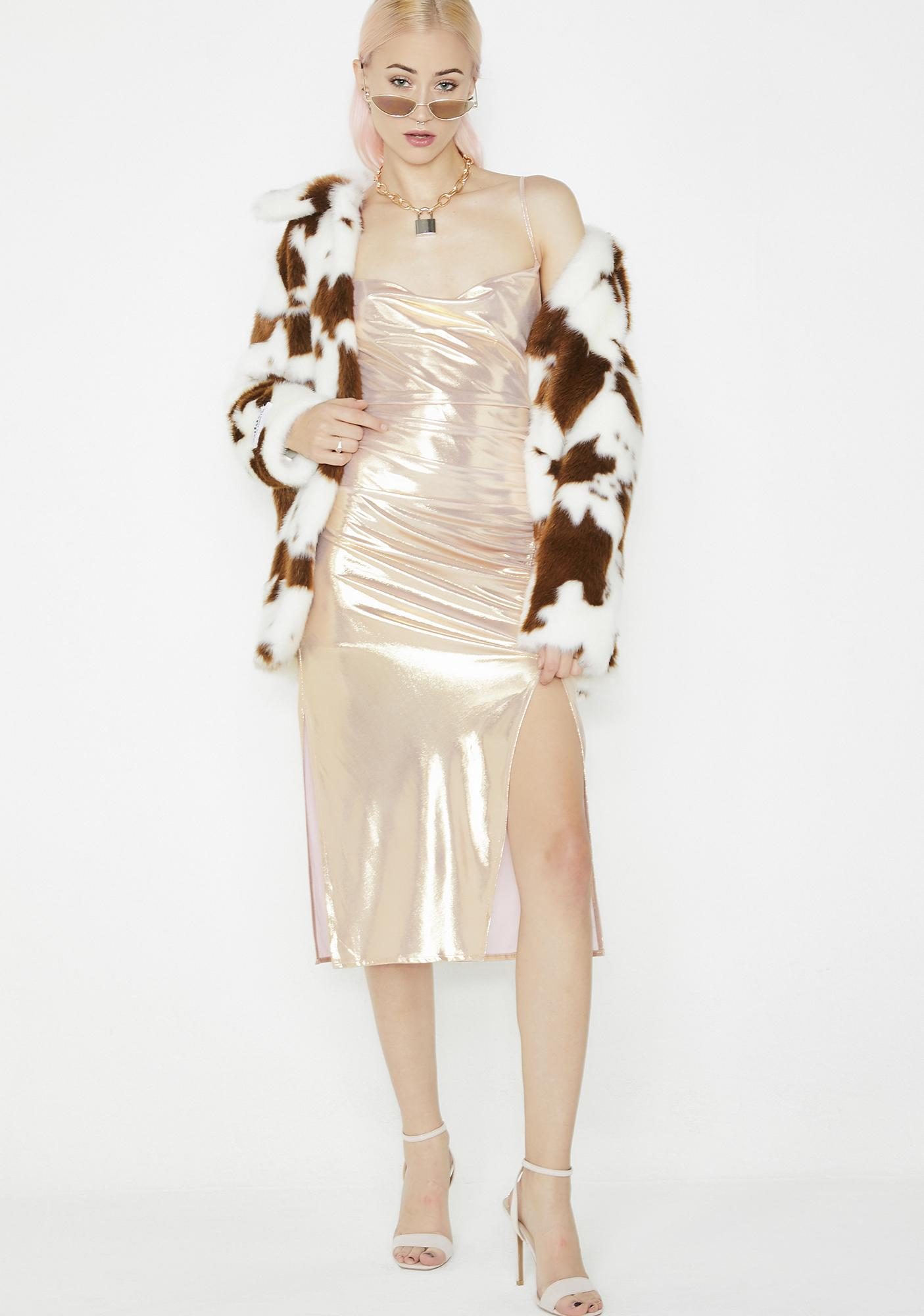 Champagne Wishes Metallic Dress