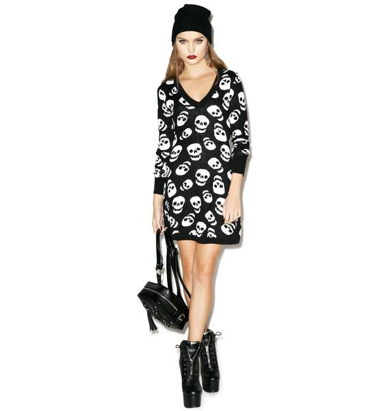 Sourpuss Clothing Lust For Skulls Sweater Dress