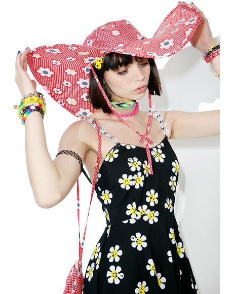 Vintage 60s Foldable Flower Power Sun Hat