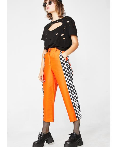 Orange Check Wide Leg Trousers