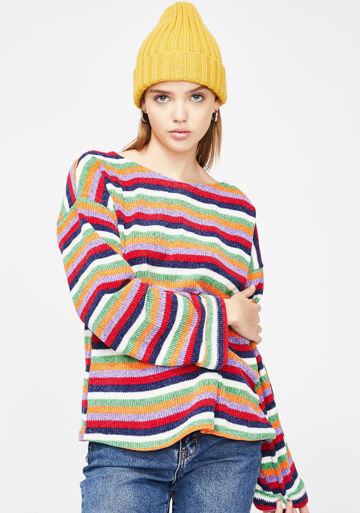 Glamorous Striped Long Sleeve Sweater