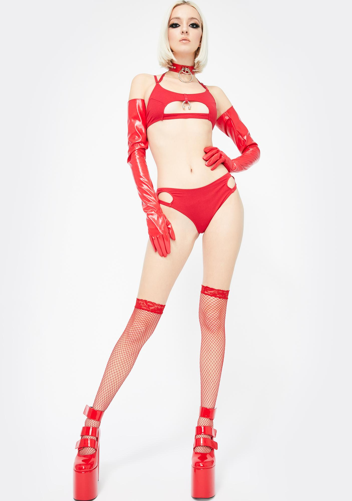 The End Lingerie Red With You Cut-Out Briefs