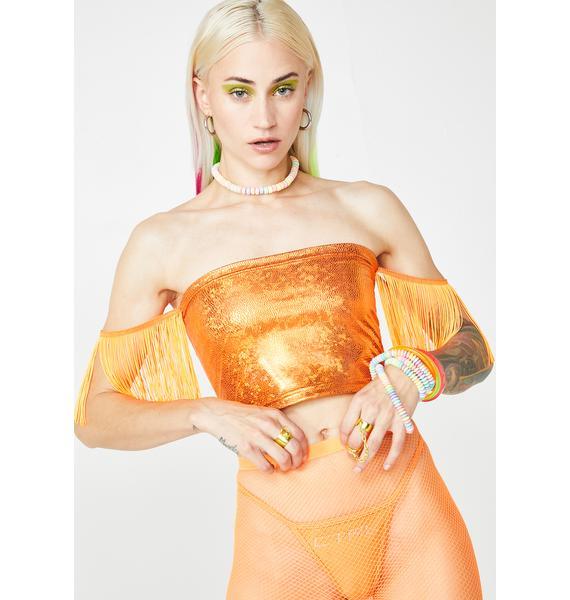 Get Crooked  Amber Bandeau Fringe Sleeve Top