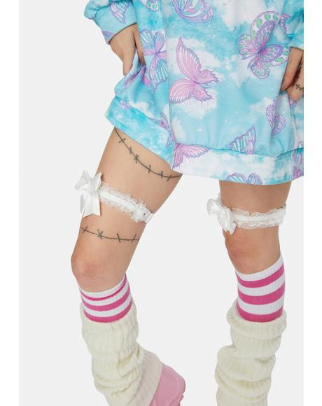 Boo Meet Miss Marvelous Ruffle Bow Garter Set
